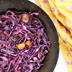 Purple Cabbage Stir Fry with Red Wine and Chestnuts
