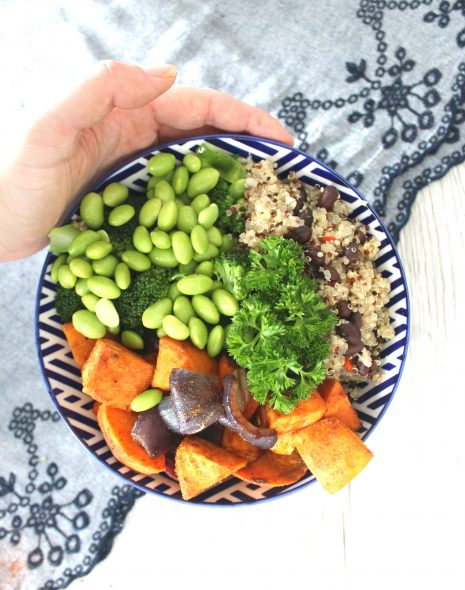 Black bean broccoli & sweet potato bowl