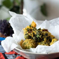 Vegan & gluten-free tempura batter with purple sprouting broccoli